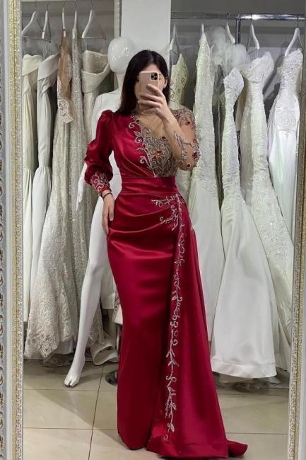 Elegante Abendkleider Lang Weinrot | Abiballkleider mit Ärmel