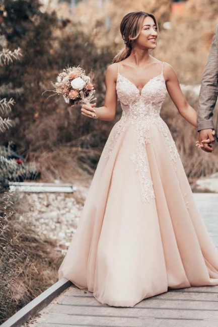 Schlichtes Brautkleider Blush Pink | Hochzeitskleider Mit Spitze
