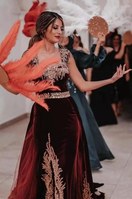 Luxus Abendkleider Weinrot Velvet   Abiballkleider Lang Günstig