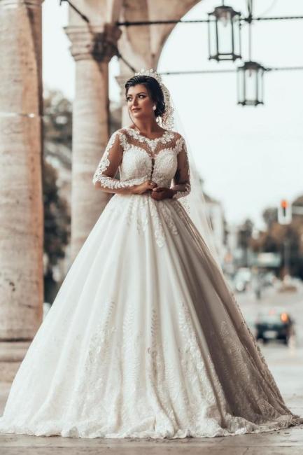 Designer A linie Hochzeitskleider Mit Ärmel   Brautkleider mit Spitze