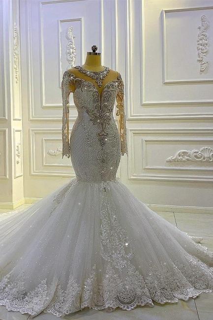 Extravagante Brautkleider Meerjungfrau Mit Ärmel   Hochzeitskleider Spitze