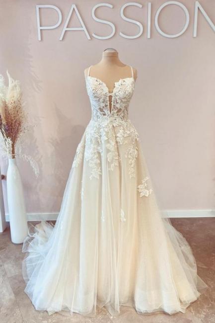 Designer Brautkleider A Linie Spitze | Schlichtes Hochzeitskleid