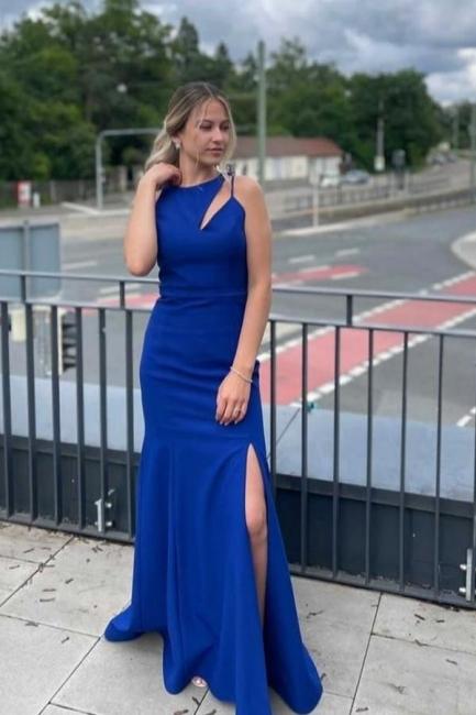 Schlichtes Abendkleid König Blau   Abiballkleider Lang Günstig