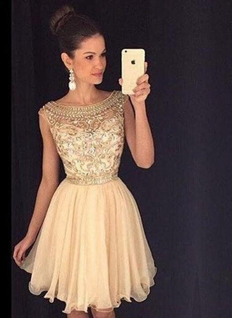 Champagne Short Prom Dresses Beaded Organza Mini Evening Wear Prom Dresses