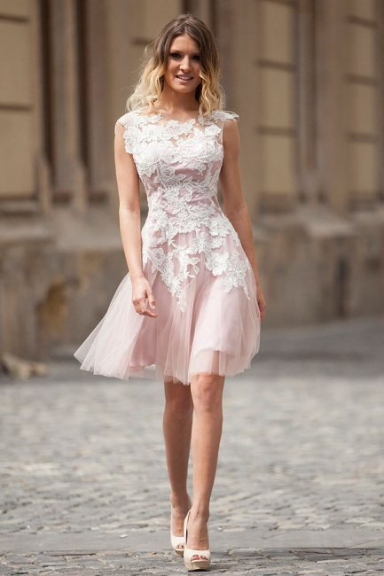Pink Prom Dresses Short With Lace A Line Tulle Knee Length Evening Wear Party Dresses