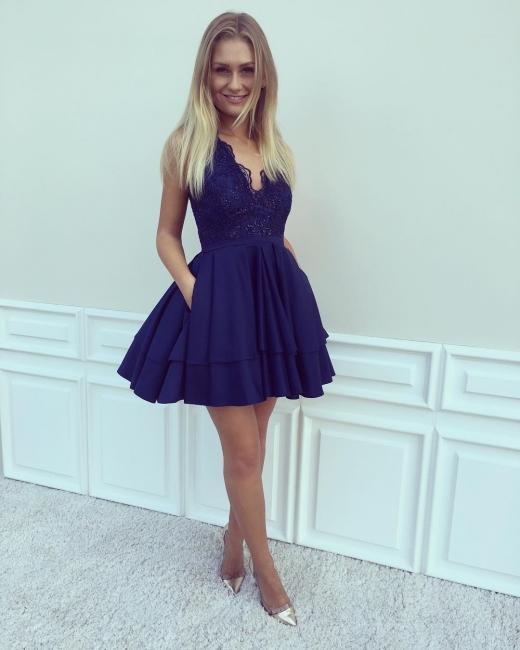 Cocktailkleider Kurz Günstig König Blau Spitze Abendkleid Partykleider