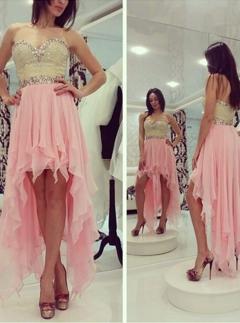 Pink Prom Dresses Chiffon With Beading Heart A Line Long Evening Wear Prom Dresses