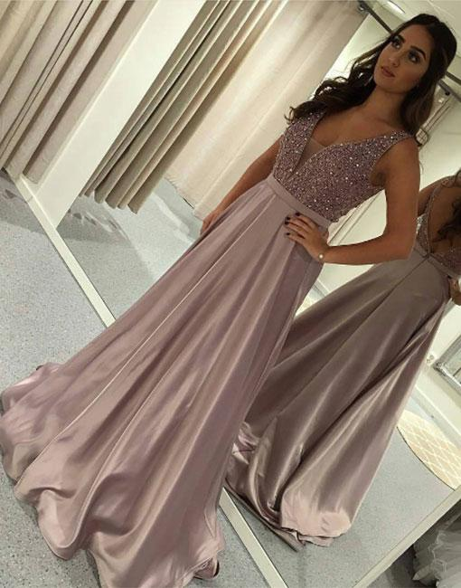 Designer evening dresses long cheap v neckline evening wear prom dresses online