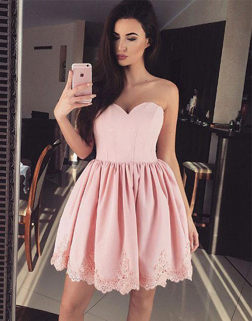 Elegant cocktail dresses short pink with lace evening dress party dresses