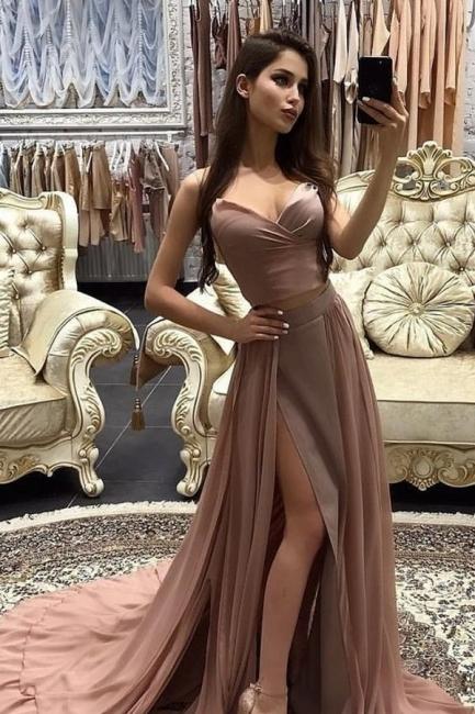 Schlichte Abendkleider Lang Günstig Chiffon Abendmoden Online