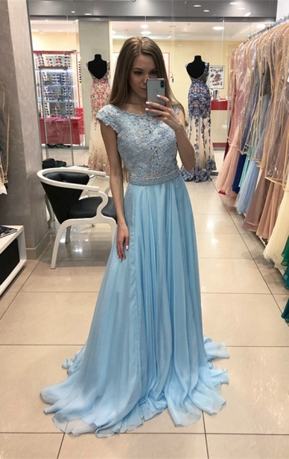 Elegant blue chiffon evening dresses long cheap with lace sheath dress prom dresses online