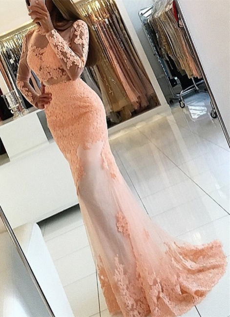 Pink Long Sleeves Evening Dresses With Lace Mermaid Evening Wear Prom Dresses