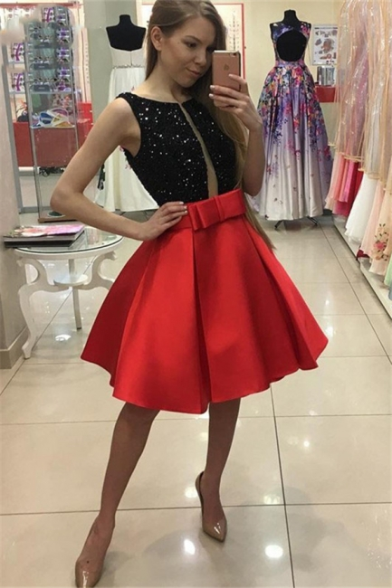 Black Red Cocktail Dresses Short Cheap A Line Party Dresses Prom Dresses