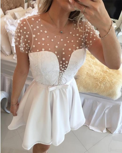 Kurz Cocktailkleider Ballkleider Weiß Perlen A Linie Chiffon Abendmoden Abendkleider