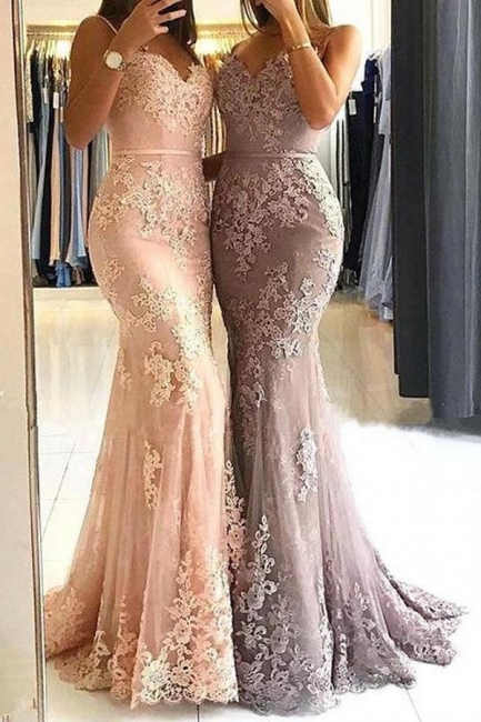 Elegant evening dresses long with lace mermaid prom dresses cheap online
