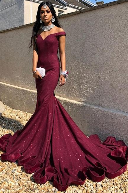 Burgundy evening dresses long with glitter | Prom dresses online cheap