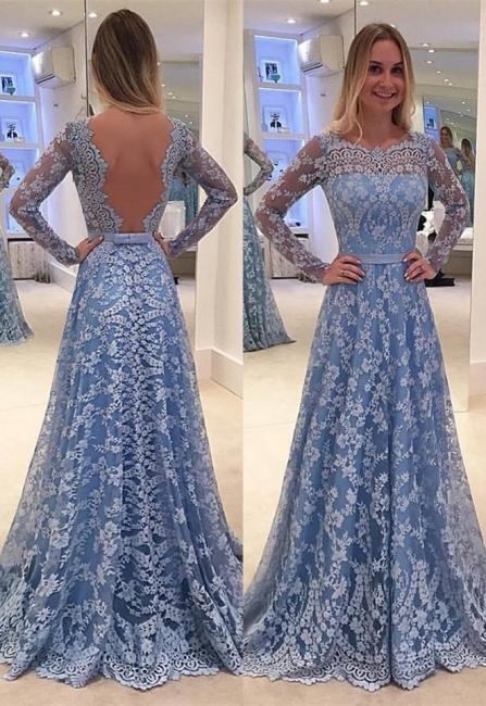 Blau Abendkleider Günstig A Line Spitze Abendkleid Online Kaufen