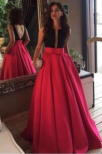 Black Red Prom Dresses Beaded A Line Satin Evening Wear Prom Dresses