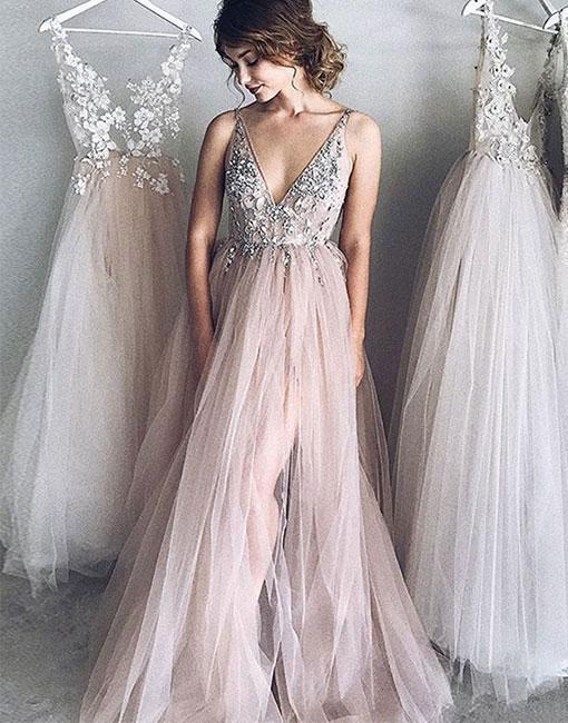 Cheap Evening Dresses Long V Neck Tulle Prom Dresses Online