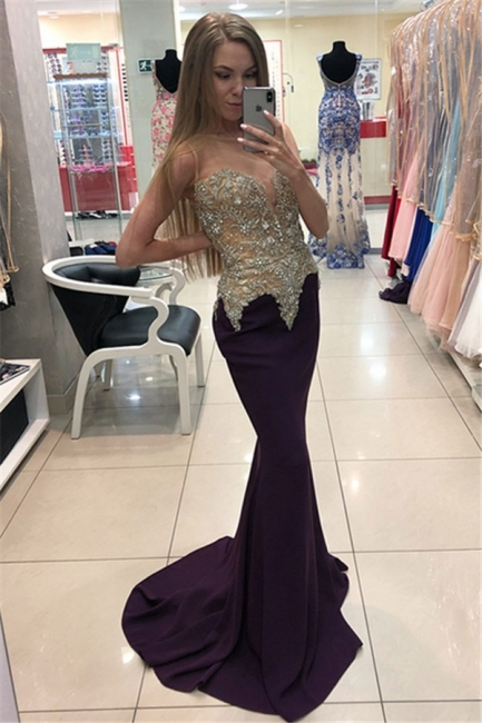 Elegant Evening Dresses Long Cheap Mermaid Crystal Prom Dresses Evening Wear