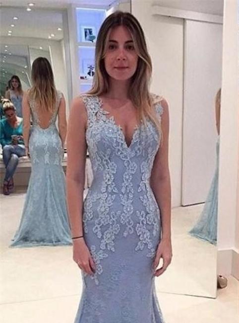 Blau Lange Abendkleider Mit Spitze V Ausschnitt Rückenfrei Abendmoden Abiballkleider