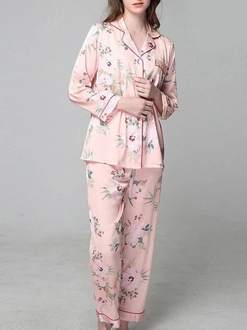 Fleece pajamas women pink | Fine nightwear long