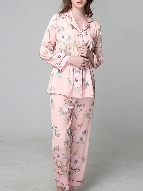 Fleece Schlafanzug Damen Rosa | Feine Nachtwäsche Lang