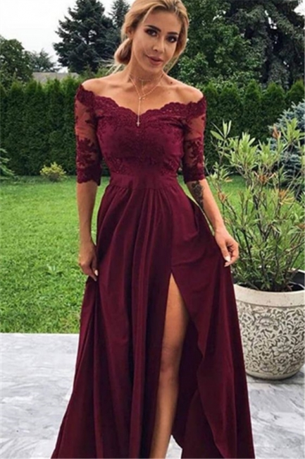 Wine red evening dresses with lace | Cheap prom dresses with sleeves