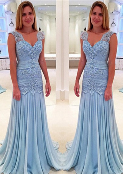 Blue Mother of the Bride Dresses Lace Chiffon Long Mother of the Bride Dresses