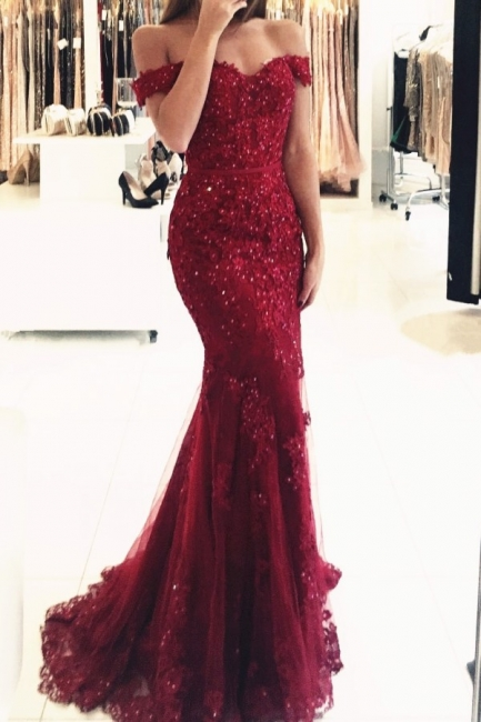 Red Evening Dresses Long Cheap Lace Off Shoulder Mermaid Evening Wear