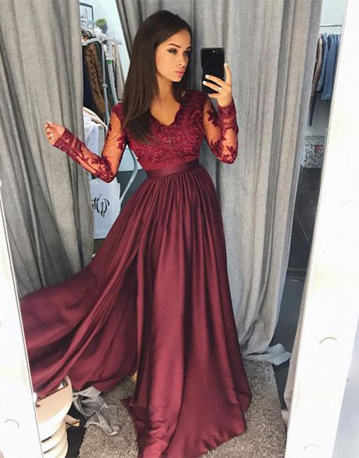 Wine red evening dresses long cheap lace evening wear with sleeves