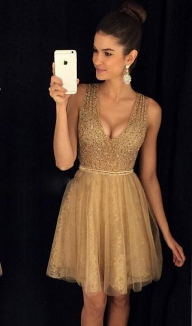 Gold Short Cocktail Dresses Straps Tulle Prom Dresses Party Dresses Cheap