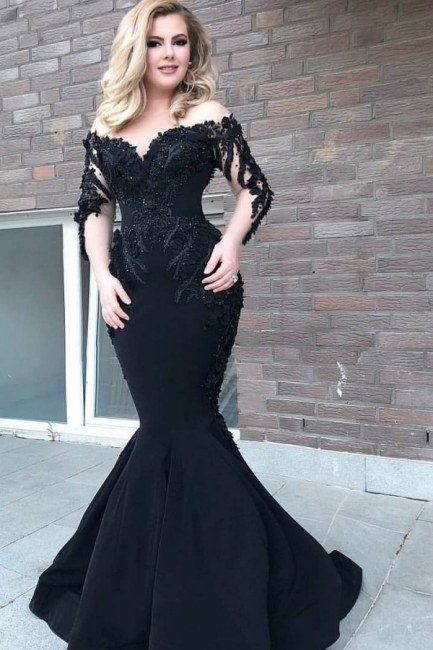 Designer evening dress with sleeves | Black Evening Dresses Long Cheap