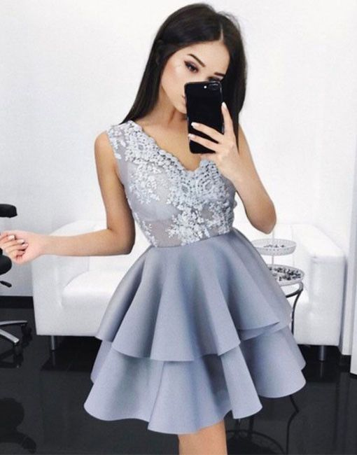 Sky Blue Cheap Cocktail Dresses Short With Lace Evening Dresses Online