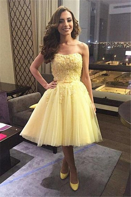 Yellow Cocktail Dresses Prom Dresses Short Lace Beaded Tulle Evening Wear