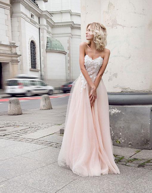 Fashion Rosa Abendkleider Lang Günstig Mit spitze Abenmoden Abiballkleider