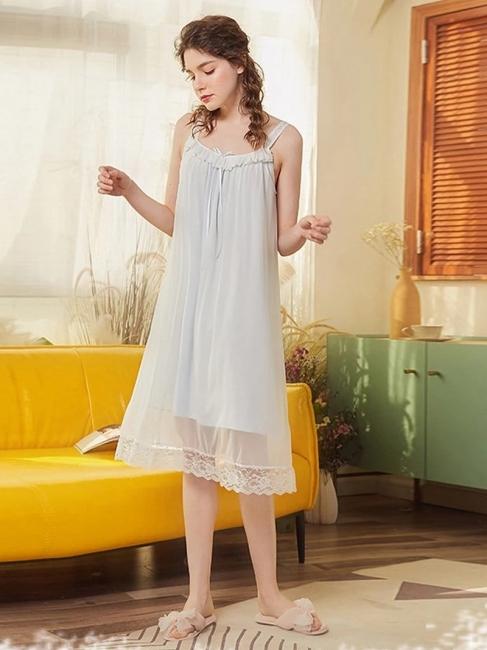 Nightwear for women chiffon | One piece pajamas girls