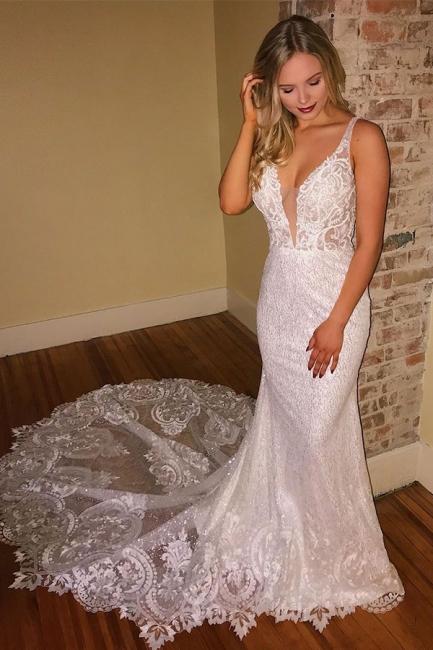 Elegante Brautkleider Mit Spitze   Hochzeitskleider Meerjungfrau Rückenfrei