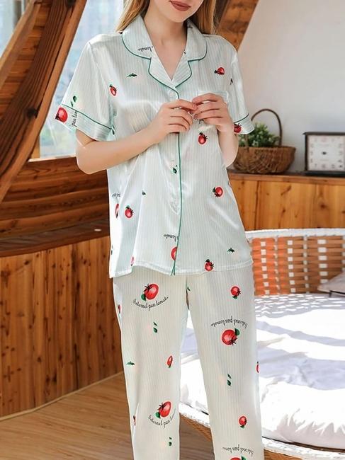 Damen Schlafanzug Lang | 2 Teiller Satin Nachtwäsche
