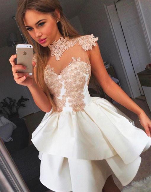 Modern Weiße Cocktailkleider Kurz Günstig A Linie Abendkleider Online