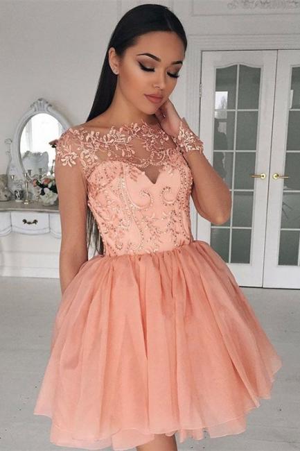 Designer Cocktail Dresses Short Pink A Line Evening Dresses Lace