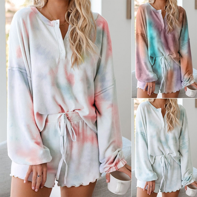 Gradient Damen Pyjama | 2 Teille Schlafanzug Damen Lang Äemel