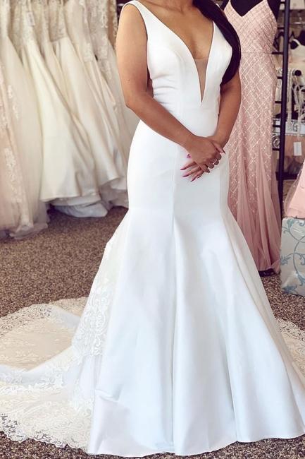 Schlichte Hochzeitskleider Mit Spitze | Brautkleider Meerjungfrau Online