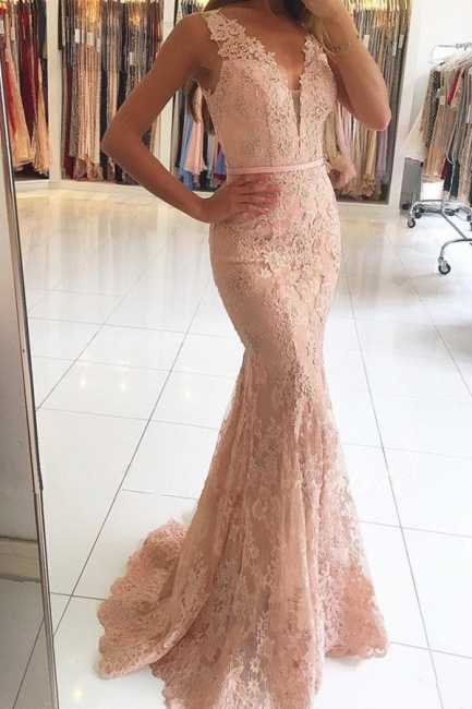 Pink Evening Dresses Long Lace Straps Mermaid Evening Wear Party Dresses Online