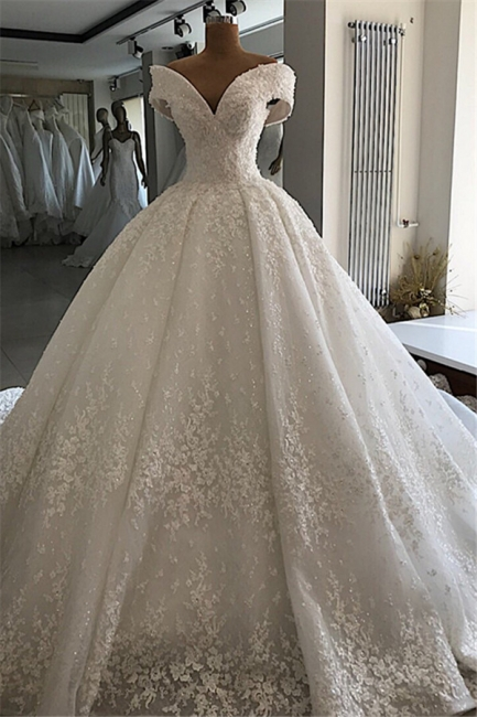 Luxury wedding dresses A line | White wedding dresses lace
