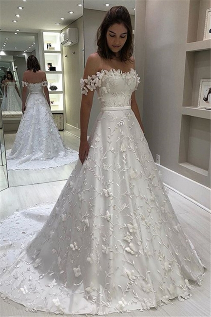 Fashion Brautkleid A Linie | Hochzeitskleider mit Spitze Online