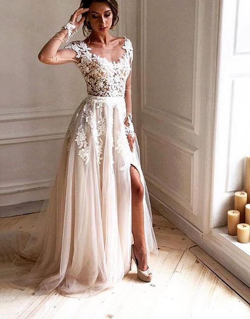 Sexy Abendkleider Lang Mit Ärmel A Linie Spitze Abendmoden