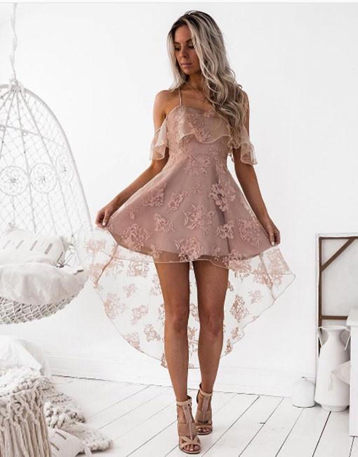 Pink Cocktail Dresses Front Short Behind Long Lace Evening Dresses Online