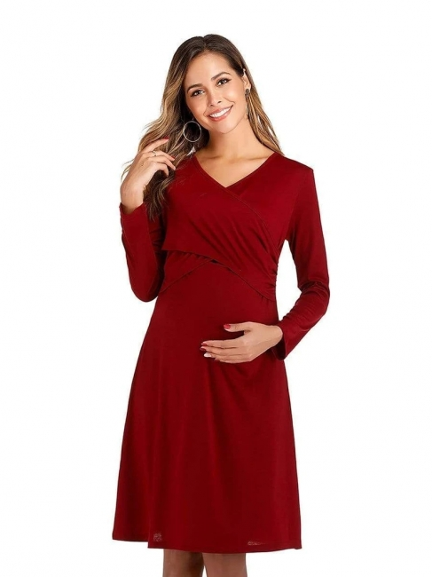 Elegant dresses pregnant women | Red Maxi Dress Pregnant Cheap