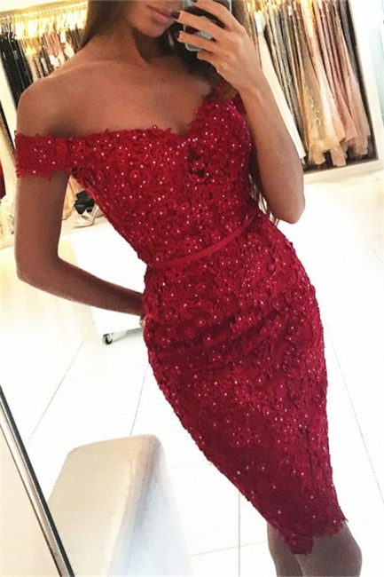 Beautiful Cocktail Dresses Short Red Lace Mermaid Evening Dresses Party Dresses